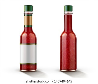 Hot chili sauce bottle mockup with blank label in 3d illustration