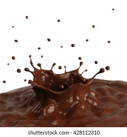 Hot chocolate splash with pouring, isolated on white background. 3D illustration.