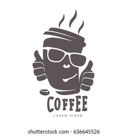 Hot cup coffee logo templates. Abstract two colors coffee logo for your design. Badges, labels, banners, advertisements, brochures, business templates. Illustration isolated on white background