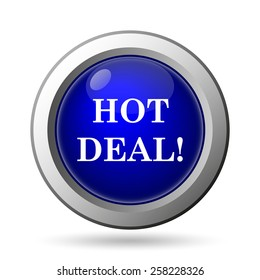 Hot deal icon. Internet button on white background.