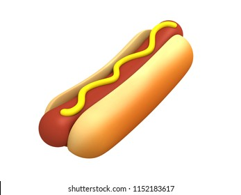 Hot dog in 3D rendering.