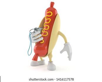 Hot dog character holding whistle isolated on white background. 3d illustration