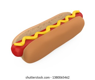 Hot Dog with Mustard Isolated. 3D rendering