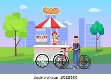 Hot dog seller and customer bicyclist man buying food snacks on shopping stall street snack at cityscape raster illustration hot-dog shop outdoors