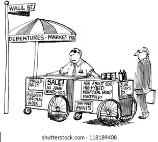 Hot dog stand of stock broker offers.