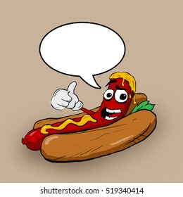 Hot Dog Thumbs Up Cartoon Character. Funny illustration.