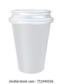 Hot Drink Cup  with Cover Mockup for Design Project - Mock Up 3D illustration Isolate on White Background