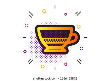 Hot drink sign. Halftone circles pattern. Bombon coffee icon. Beverage symbol. Classic flat bombon coffee icon.
