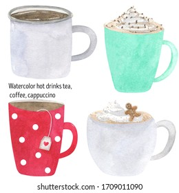 Hot drinks watercolor cocoa, cappuccino, coffee, tea, latte, hot