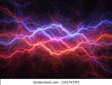 Hot fire and cool ice lightning abstract, plasma and power concept
