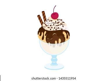 Hot Fudge Sundae illustration. Chocolate sundae icon. Hot Fudge Sundae isolated on a white background. Ice cream cup illustration