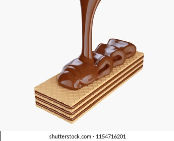 Hot melted chocolate coated on wafer piece, 3d illustration, Clipping path