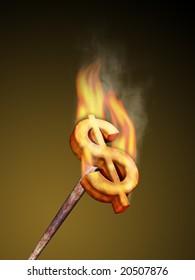 Hot metal dollar brander. Digital illustration.