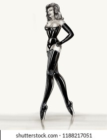 hot mistress with long legs large bosom in laced corst latex strung boots black high heels and mortal rubber gloves