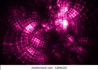 Hot Pink Grid Distorted - Fractal Design