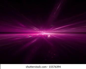 Hot Pink Horizon - 3D fractal Illustration