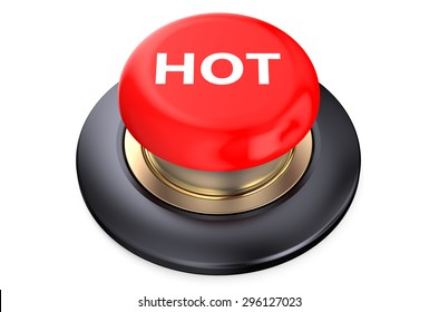 Hot Red button isolated on white background