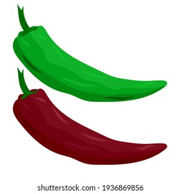 hot red and green peppers, drawing on a white background