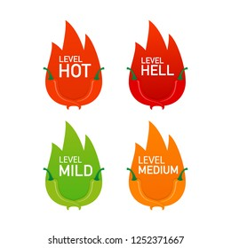Hot red pepper strength scale indicator with mild, medium, hot and hell positions.  stock illustration.