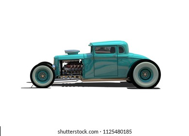 Hot Rod Sports car. Isolated on white background. 3D render illustration