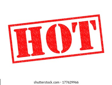 HOT Rubber Stamp over a white background.