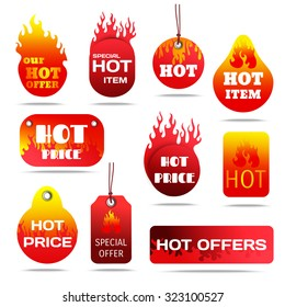 Hot sale and special offers with fire design labels set flat shadow isolated  illustration