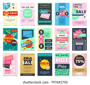 Hot sales 15 flat banners design set with discount rates limited offers and online only isolated  illustration