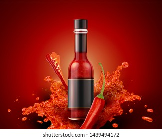 Hot sauce product with blank label in 3d illustration on red background