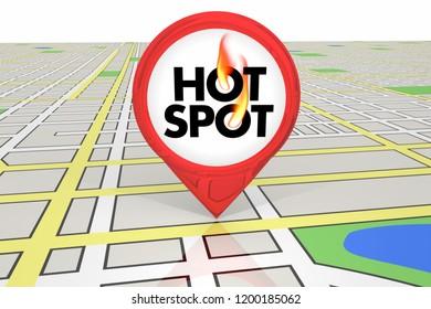 Hot Spot Popular Location Map Pin 3d Illustration