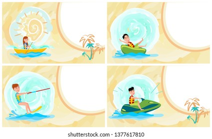 Hot summer banner colorful raster illustration abstract water and sun palms set text sample jet ski kite surfer rowing sport donut ride