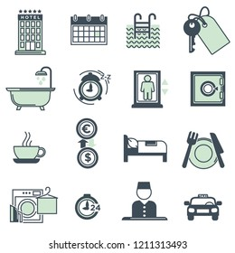 Hotel amenities and services icons collection on white