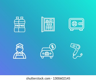 Hotel icon set and car rent with hair dryer, minibar and room safe. Drink related hotel icon  for web UI logo design.