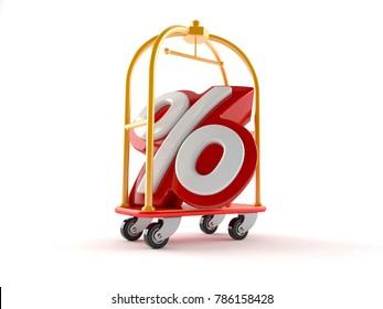 Hotel luggage with percent symbol isolated on white background. 3d illustration