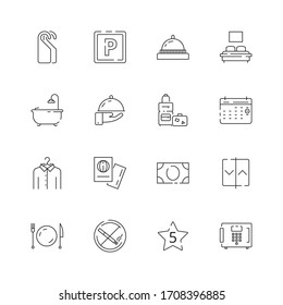 Hotel related icons. Parking restaurant separated bed wifi free tv hotel signs thin line