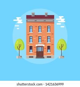 Hotel service bright poster with brick building sign best above entrance. illustration of resort on light blue background