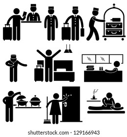 Hotel Services Receptionist Bellboy Housekeeper Worker Customer Visitor Stick Figure Pictogram Icon