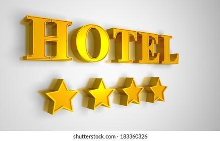 Hotel sign gold - 4 stars
