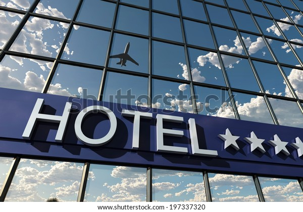 hotel sign with stars, 3d illustration