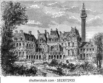 Hotel of Soissons and observatory column of Catherine of Medicis, Vintage engraving. From Popular France, 1869.