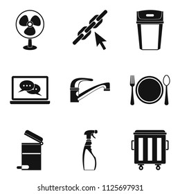 Hotelier icons set. Simple set of 9 hotelier icons for web isolated on white background