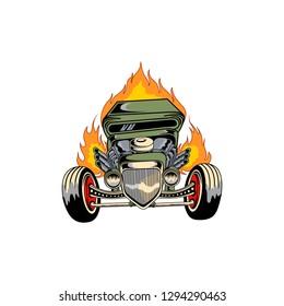 Hotrod car spitting fire