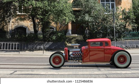 Hotrod rides on the street in front of houses. 3D render