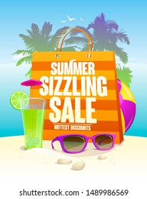 Hottest summer sizzling sale design with shopping bag on a beach backdrop with palms, cocktail and sun glasses. Rasterized version