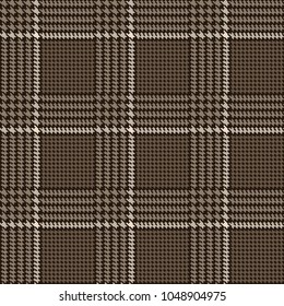 Hounds-tooth pattern end Glen plaid check seamless brown set