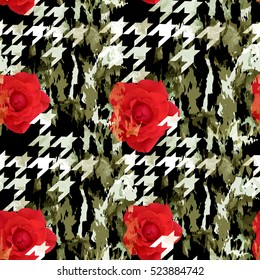 Houndstooth pattern with flowers. Floral seamless background. Camouflage seamless pattern with watercolor effect. Textile print for bed linen, jacket, package design, fabric and fashion concepts.