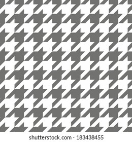 Houndstooth seamless grey and white pattern or background. Traditional Scottish plaid fabric collection for website background or desktop wallpaper.
