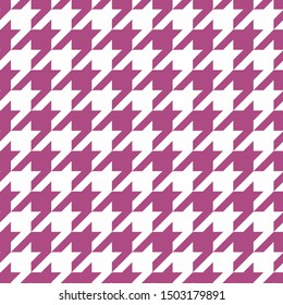 Houndstooth seamless purple pattern. Traditional Scottish plaid fabric for colorful website background or desktop wallpaper in violet pink and white color.
