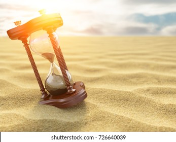 Hourglass clock on sand of desert background. 3d illustration
