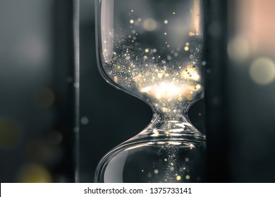 hourglass close up with shining sand inside, conceptual image of time, 3D design made on the basis of photography