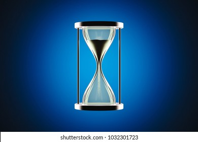Hourglass with cold background.